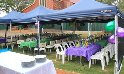 Marquees set up for the foundation Day lunch